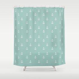 Maine Blue Anchor Print Shower Curtain