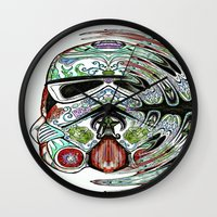 psychadelic Wall Clocks featuring Psychadelic Storm Trooper by Just Bailey Designs .com