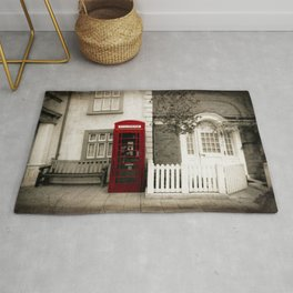Red Telephone Booth Sepia Spot Color Photography Rug
