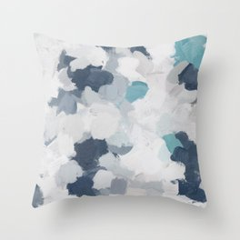 Navy Indigo Turquoise Blue White Gray Mint Abstract Air Clouds Painting Art Print Wall Decor  Throw Pillow