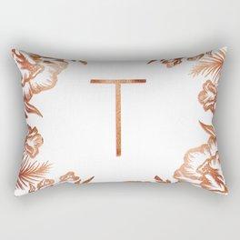 Letter T - Faux Rose Gold Glitter Flowers Rectangular Pillow