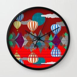 Hot Air Balloon Reflections Over Red Sea Wall Clock