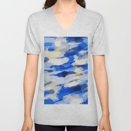 blue grey and dark blue painting abstract background Unisex V-Neck