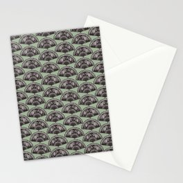 rows of Fans on mint Stationery Cards