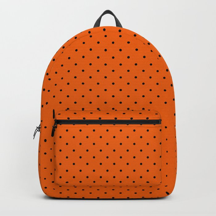Bright Halloween Orange & Black Polka Dot Pattern Backpack
