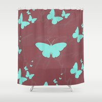 butterflies Shower Curtains featuring Butterflies by Yasmina Baggili