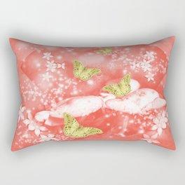 Gold butterflies in magical mushroom landscape Rectangular Pillow
