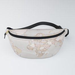 "Rustic world map in grey and brown ""Lucille"" Fanny Pack"