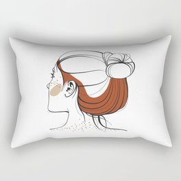 Red-haired woman with freckles. View from the back. Abstract face. Fashion illustration Rectangular Pillow