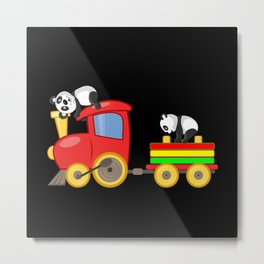 Toy Train With Pandas Gift Idea Motif Metal Print