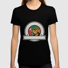 Wild Boar Razorback Bone In Mouth Circle Retro T-shirt