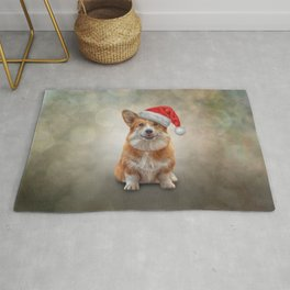Drawing Welsh Corgi in red hat of Santa Claus Rug
