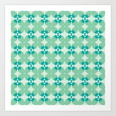 Pattern: Blue Strawberries Art Print