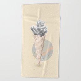 Succulent  ice cream cone Beach Towel