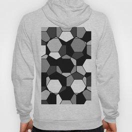 Retro Rocks - 50 Shades Of Grey - Abstract, black and white, hexagonal pattern Hoody