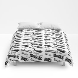 Bombs - Black on White Comforters