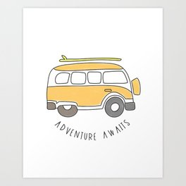 The Surf Life | Yellow Adventure Bus Art Print