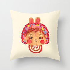 The Flower Crown Bunny Throw Pillow