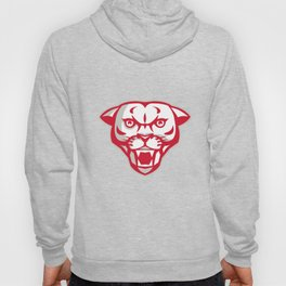 Angry Cougar Mountain Lion Head Retro Hoody
