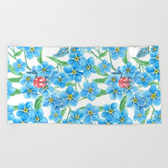 Forget me not seamless floral pattern Beach Towel
