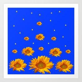 RAINING GOLDEN STARS YELLOW SUNFLOWERS BLUES Art Print