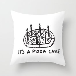 It's a Pizza Cake - Pepperoni Pizza lovers birthday dream desert with candles Throw Pillow