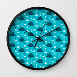 Travel pattern with mountains and baloons Wall Clock