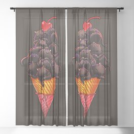 Cat Ice Cream Sheer Curtain