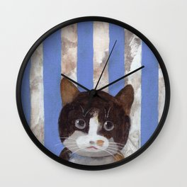 Missy or A Cat with Blue Stripes Wall Clock