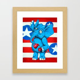 Judi's Coffee Drinking Elephant Framed Art Print