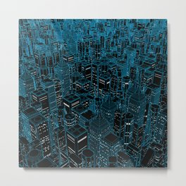Night light city / Lineart city in blue Metal Print