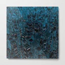 Night light city / Lineart city in blue Metal Print