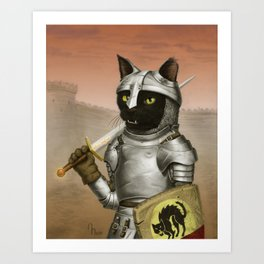 Fighter Cat Art Print