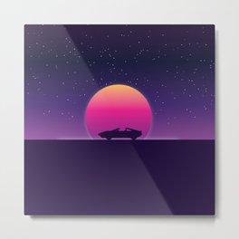 80s Retro Sunset Car Metal Print