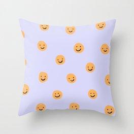 Purple Smiley Face Throw Pillow