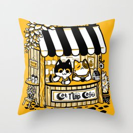 Cat Nap Cafe Throw Pillow