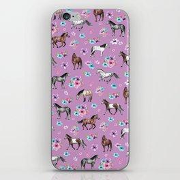 Purple Horse and Flower Print, Hand Drawn, Horse Illustration, Little Girls Decor iPhone Skin