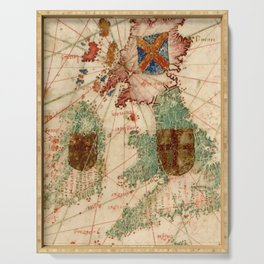 Vintage Map of The British Isles (1600) Serving Tray
