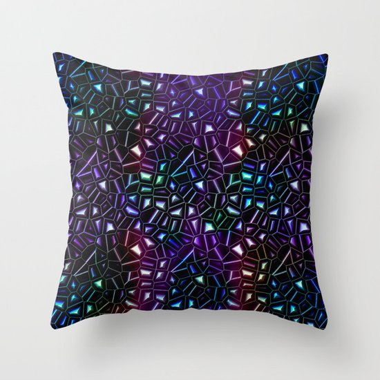 Midnight Rainbow Glitter Throw Pillow