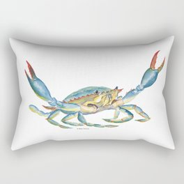 Colorful Blue Crab Rectangular Pillow