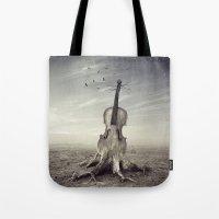 violin Tote Bags featuring violin by Andrzej Siejeński