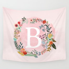 Flower Wreath with Personalized Monogram Initial Letter B on Pink Watercolor Paper Texture Artwork Wall Tapestry