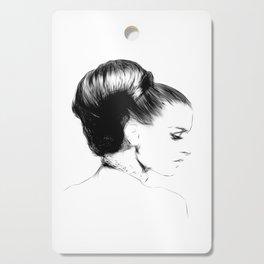 Woman Portrait Fashion Minimal Drawing Cutting Board