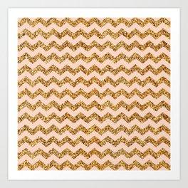 Bisque Gold Glitter Chevron Pattern Art Print