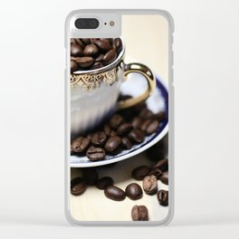 Coffee beans in the old cappuccino cup Clear iPhone Case