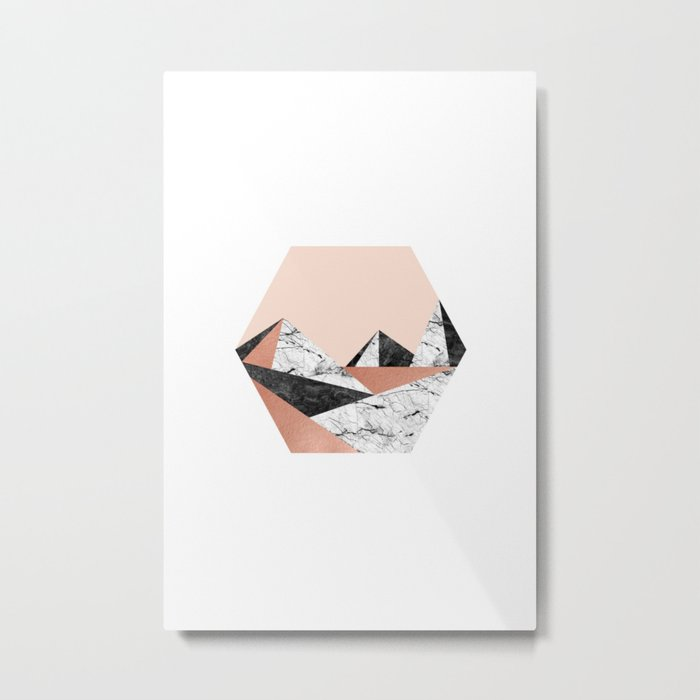Geo Landscape Hexagon Metal Print