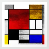 mondrian Art Prints featuring Luxury Mondrian by Dizzy Moments