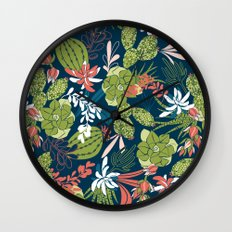 Succulent Garden Navy Wall Clock