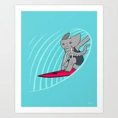 Surfing Elephant Art Print