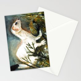 Winter stoat watercolor Stationery Cards